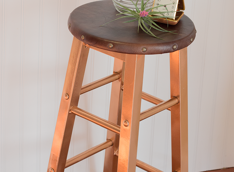 Copper & Leather Side Table Makeover